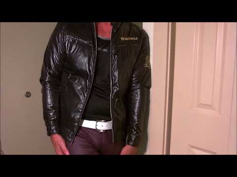 shiny black nylon jacket thumbnail