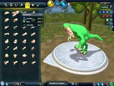 como crear un dinosaurio en spore