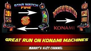Nice Run on Konami's - Nouveau Beauties,Bullion Factory and Star Watch Fire Slot Machine