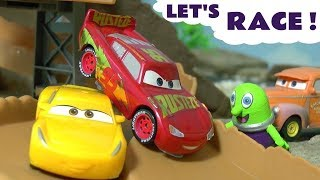 Cars McQueen and the Hot Wheels Superhero cars in Let's Race races for kids and children TT4U