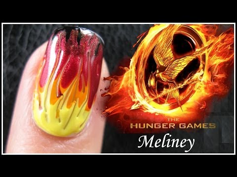 THE HUNGER GAMES CATCHING FIRE NAIL ART TUTORIAL   EASY GRADIENT FADE DRAG MARBLING DESIGN BEGINNERS