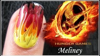 THE HUNGER GAMES CATCHING FIRE NAIL ART TUTORIAL | EASY GRADIENT FADE DRAG MARBLING DESIGN BEGINNERS