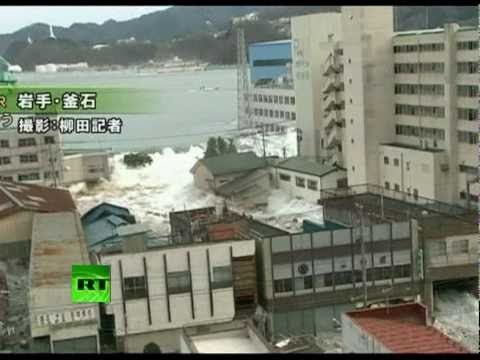 Fresh Footage Of Huge Tsunami Waves Smashing Town In Japan video