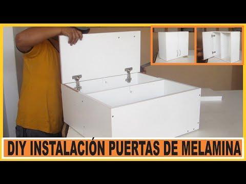 Como hacer muebles /  Instalar Puertas en muebles de cocina fabricados en tableros de Melamina