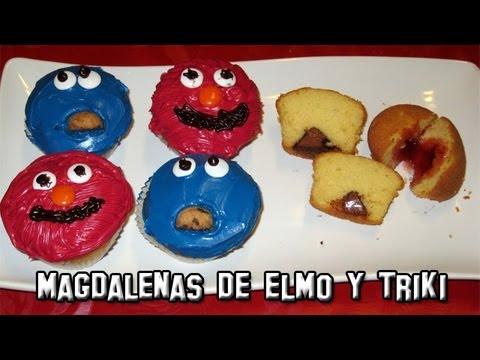 Recetas de Cocina | Como Hacer Magdalenas decoradas Elmo y Triki | Cupcakes