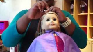 My. American girl doll gets her hair done!!!!!!