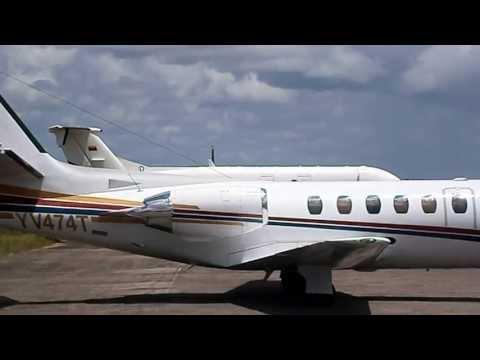 Beechcraft 1900D YV2865 de Chevron Texaco Encendiendo Turbohélices y Taxeo Aeropuerto de San Tomé