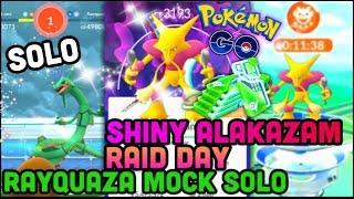 RAYQUAZA MOCK SOLO IN POKEMON GO   SHINY ALAKAZAM RAIDS COMING SOON?