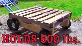 Wooden Pallet to wheel cart Cam Trolley WOODWORKING DIY Mobile Pallet Wagon