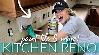 CHEAP KITCHEN RENO! 💙 BEST way to paint tile (it WORKS!!!)