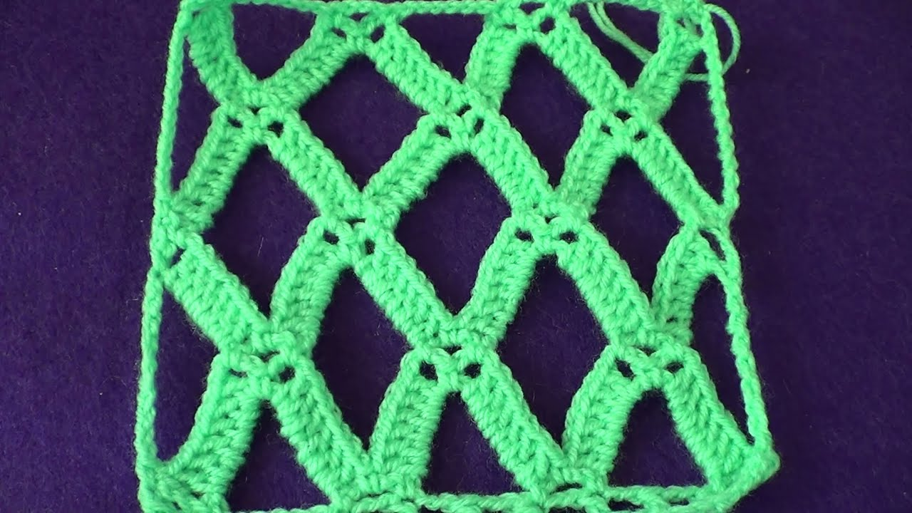 Вязание крючком сетка ромбами