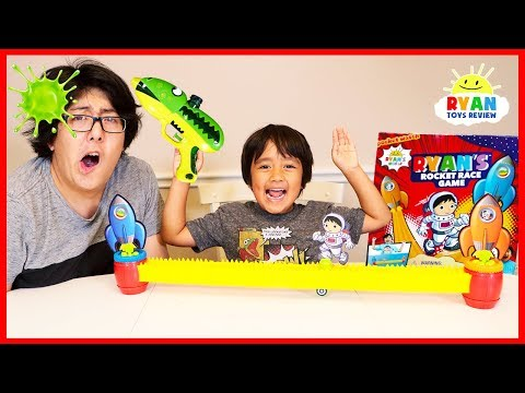 Ryan's Rocket Race Game vs. Daddy!! Loser Gets Blast with Slime!!!!!