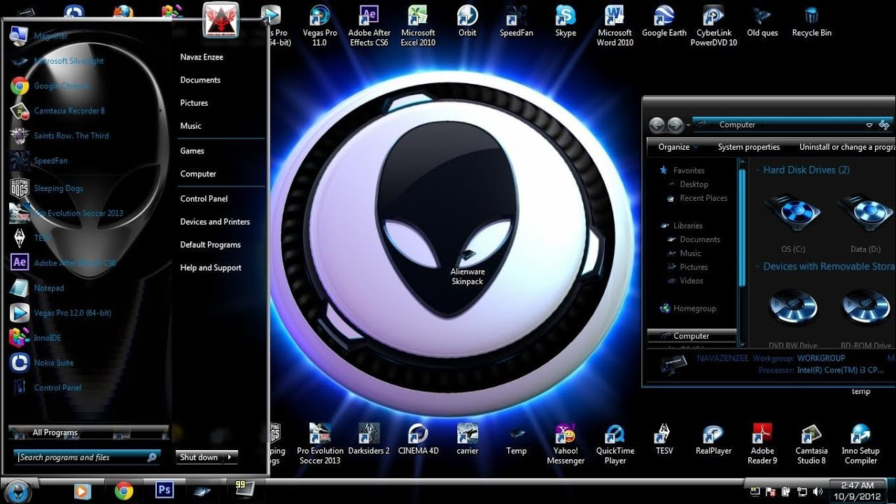 alienware skin pack for windows 7 64 bit free download