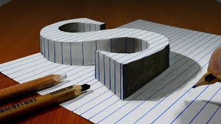 Draw a Letter S on Line Paper   3D Trick Art