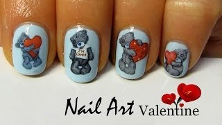 Teddy Bear NailArt / дизайн ногтей VALENTINE