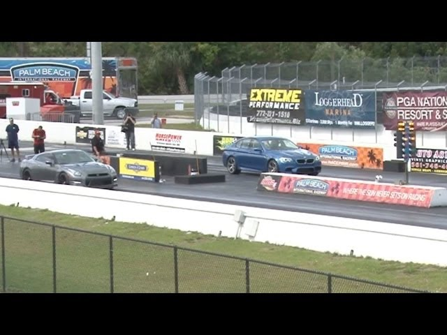 2013 BMW M5 F10 vs Nissan GT-R Drag Racing 1/4 Mile