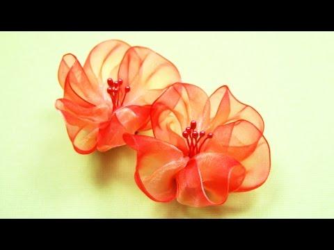 Цветы своими руками из органзы