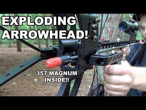 Exploding Arrowhead! Bow Mag 357 Magnum