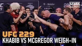 UFC 229 Weigh-Ins: Conor McGregor Tries to Kick Khabib Nurmagomedov
