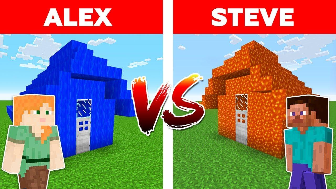 MINECRAFT - ALEX vs STEVE! WATER HOUSE vs LAVA HOUSE / Minecraft Animation