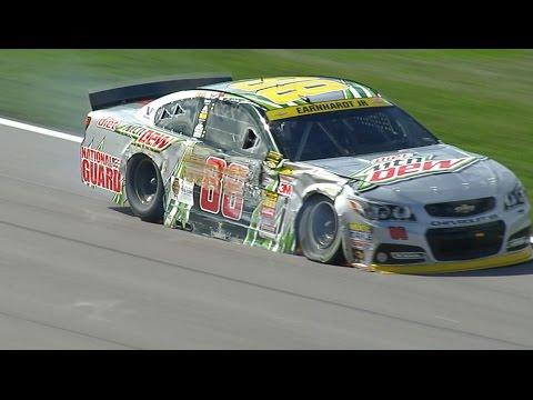 Dale Earnhardt Jr. Crash @ 2014 NASCAR Sprint Cup Kansas
