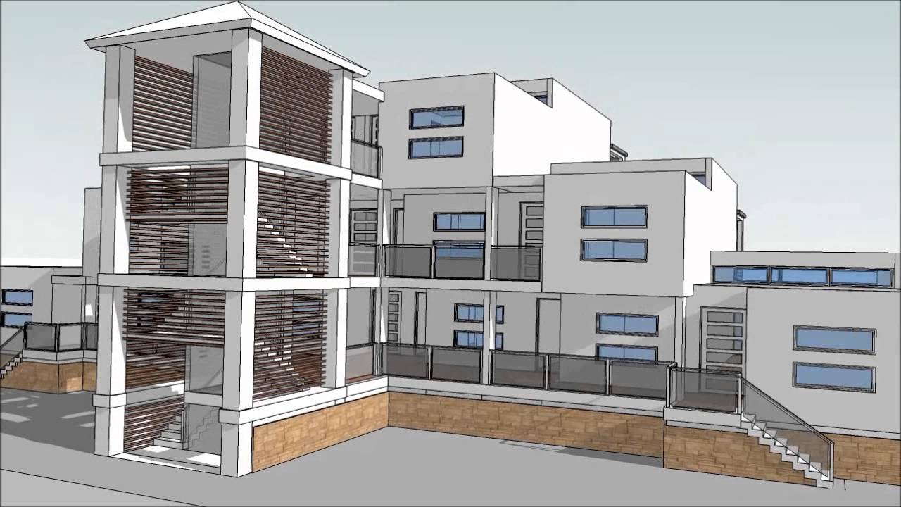 design an apartment building with sketchup part 2