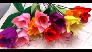 How to make Paper flowers Tulips (Flower # 6)