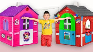 Max play with funny Playhouses toys - compilation from Smile Toy Review