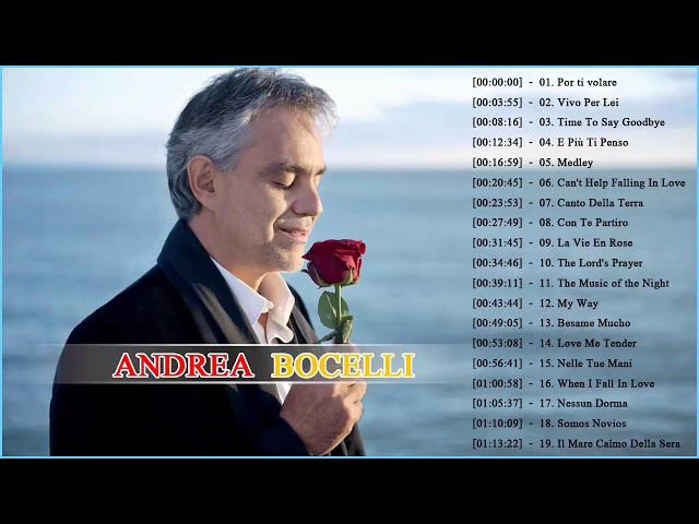 Andrea Bocelli Greatest Hits 2018   Best Andrea Bocelli Songs of All Time thumbnail