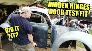 Door Test Fit! - VW Beetle Hidden Door Hinges 7 - ROTTEN OLD 1956 - 104