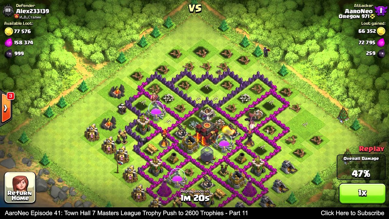Town hall level 7 th7 masters league trophy push part 11 dragons