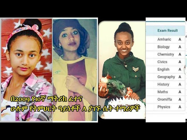 Female students who scored street A in Grade 10th Ethiopian National Exam