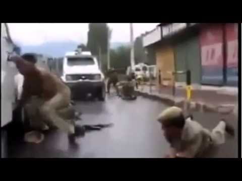 Indian Army scares from Bullets. In kashmir shame on u india.