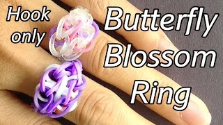 Loom Bands Ring: Butterfly Blossom Ring - Hook only (no Rainbow Loom needed)