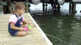 2 year old girl fishing catch and release -get em karley