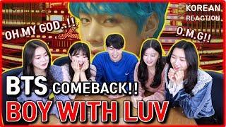 [REAKSI CEWEK CANTIK] BTS - Boy With Luv feat. Halsey' Official MV | kpop korean reaction