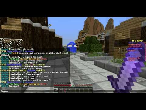 "Minecraft player ""zinzwe"" hacking. Server: Guildcraft. TF2 Minigame"