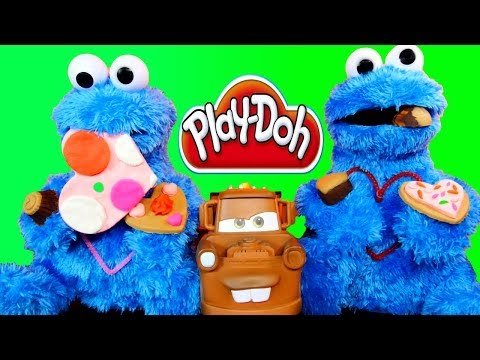 Play Doh Sweets Cafe Chocolate Poppers + Cookie Monster Eating Cookies With Disney Cars Mater video