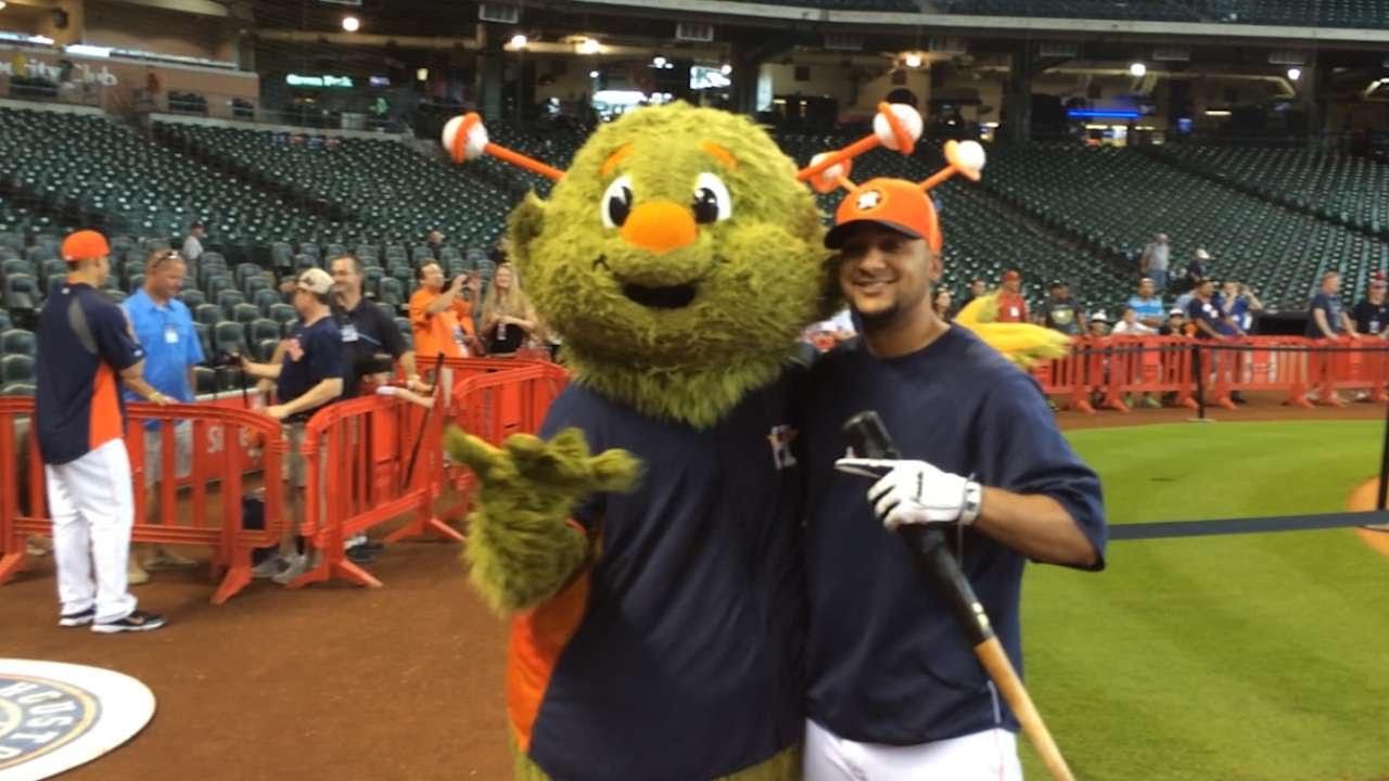 Houston Astros mascot Orbit promotes his birthday during BP