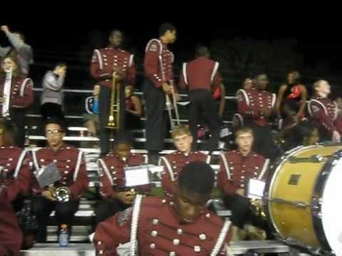 Pineville High School Marching Band Percussion having fun doing cadences 10-19-12