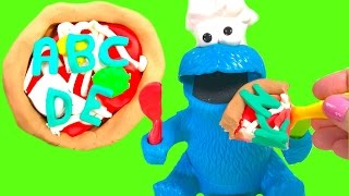 Best Learning Letters & Colors Video for Children - Cookie Monster Eats an Alphabet Play Doh Pizza