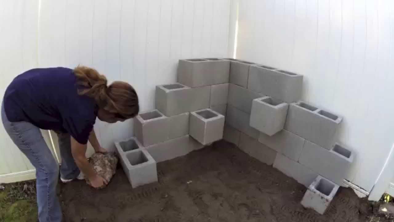 Cinder block planter youtube for Cinder block tv stand