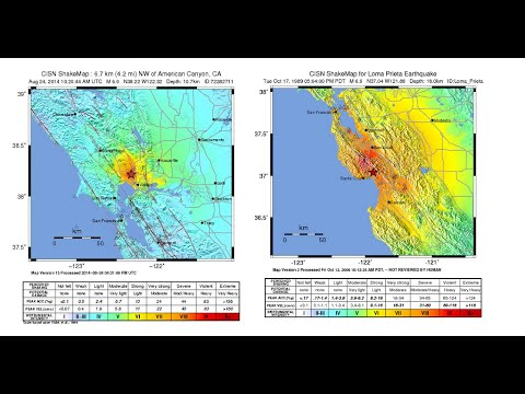 earthquake, Map How does the Napa earthquake compare to the big one in 1989