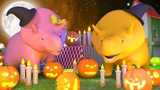 Ucz się kształtów - Dino i Dina uczą się robić Dynię 🎃 Halloween Bajki Dla Dzieci