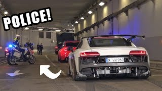 Supercars Go CRAZY in a Tunnel!! - Police, Launches, Burnouts & Accelerations!
