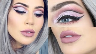 Easy Cut Crease Tutorial Affordable With Grey WIG and Huda Beauty Lips | CC Clarke Beauty