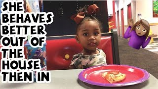 day in the life with a toddler and newborn | Chuck E. Cheese fun