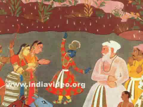 The raising of the Mount Govardhana by Krishna