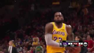 LeBron James First Bucket as a Laker, Back to Back Dunks vs Trail Blazers   October 18, 2018