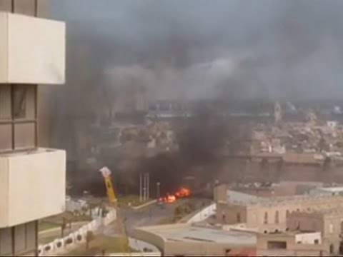 Raw: Fire After Deadly Libya Hotel Attack